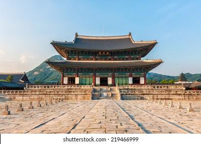 Geunjeongjeon, the main throne hall of Gyeongbokgung Palace in Seoul, South Korea.
