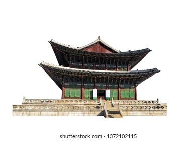 Geunjeongjeon (the Throne Hall) at Gyeongbokgung Palace complex isolated on white background. It's also known as Gyeongbok and it is located in northern Seoul, Korea.