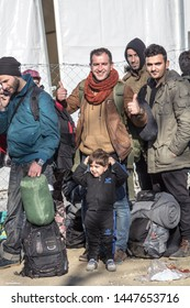 GEVGELIJA, MACEDONIA - DECEMBER 13, 2015  Refugees waiting to enter Macedonia from the city of Eidomeni Idomeni in Greece on the border with macedonia, on the Balkans Route, during the Refugee Crisis
