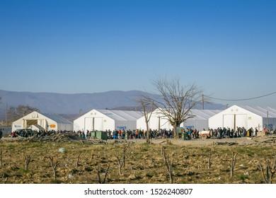 GEVGELIJA, MACEDONIA - DECEMBER 13, 2015: Panorama of the Vinojug UNHCR camp near city of Eidomeni Idomeni in Greece on the border with macedonia, on Balkans Route, during Refugee Crisis