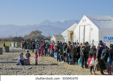 GEVGELIJA,  MACEDONIA - DECEMBER 23, 2015: Refugees waiting to register in the refugee camp of Vinojug in Gevgelija (Macedonia) after having crossed the border with Greece at Eidomeni.