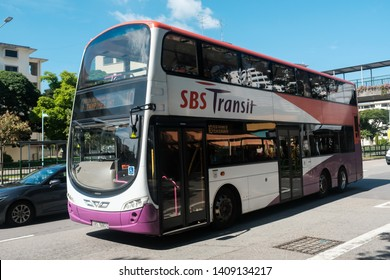 Geylang, Singapore - May 5, 2019 : View of a double-decker bus on the road belonging to SBS (Singapore Bus Service) Transit at Dakota Station