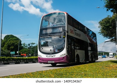 Geylang, Singapore - May 5, 2019 : View of a double-decker bus on the road belonging to SBS (Singapore Bus Service) Transit at Kallang Stadium