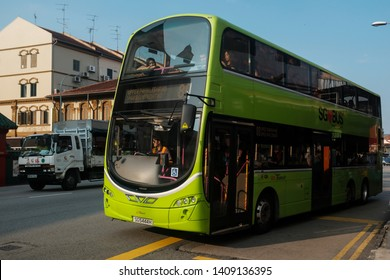 Geylang, Singapore - May 5, 2019 : View of a double-decker public bus on the road belonging to SBS (Singapore Bus Service) Transit at Geylang Road