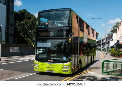 Geylang, Singapore - May 5, 2019 : View of a double-decker public bus on the road belonging to SBS (Singapore Bus Service) Transit at Dakota Station