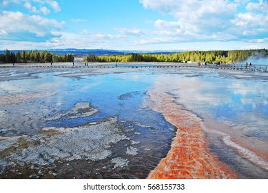 Geyser grand prismatic nature landscape at Yellowstone national park, Wyoming