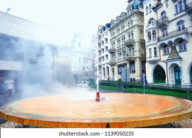 geyser in Karlovy Vary / mineral hot spring in Carlsbad czech republic, Karlovy Vary