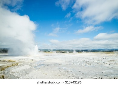 Geysers erupting in Yellowstone National Park beautiful landscape, Wyoming, US, America during Summer vacation