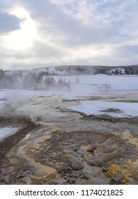 Geysers and thermal pools - Yellowstone National Park, USA, in winter