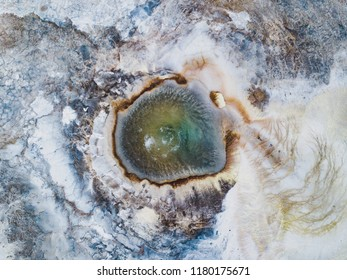 geysir geothermal hot spring in Iceland, volcanic nature landscape top view