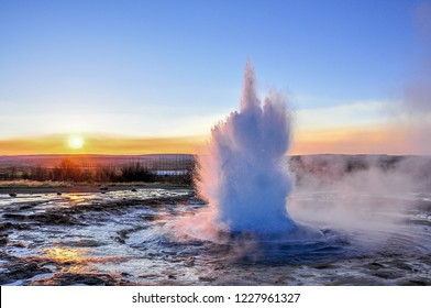 Geysir in the morning, Iceland