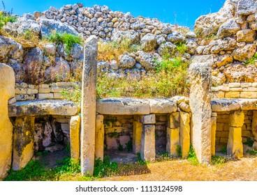 Ggantija neolithic temple at Xaghra, Gozo, Malta