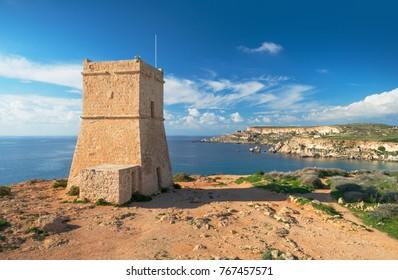 Ghajn Tuffieha Tower. Anceint coastal watchtower on Malta