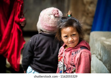GHALEGAUN, NEPAL - CIRCA MAY 2018: Young Nepali girl looking at the camera.