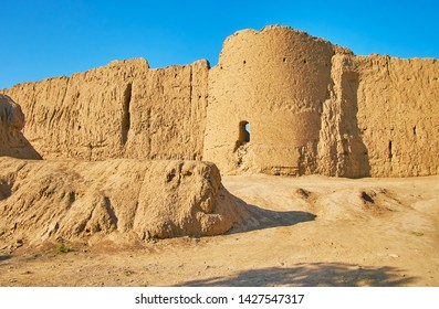 Ghal'eh Jalali clay fortress is fine example of medieval defensive construction with tall walls and round towers, Kashan, Iran