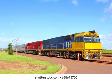 The Ghan train ride, rail transport service  from north to south via Alice Springs through the Outback, Australia