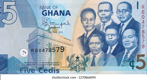 Ghana 5 cedi (2015) banknote, Ghanaian money currency close up