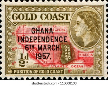 GHANA - CIRCA 1957: A stamp printed in Ghana shows image celebrating Ghanaian Independence, series, circa 1957