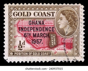 GHANA - CIRCA 1957: A stamp printed in Ghana shows location of the country on the African continent and queen Elizabeth II, stamp of Gold Coast overprinted in black, Ghana Independence, circa 1957