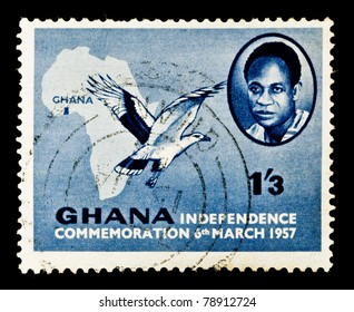 GHANA - CIRCA 1957: A stamp printed in Ghana shows a map of Africa and commemorates Ghanaian independence, circa 1957