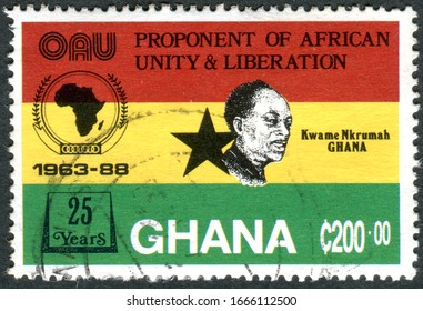 GHANA - CIRCA 1989: A stamp printed in Ghana, dedicated to the 25th Anniversary Organization of African Unity, depicted the first president of Ghana - Kwame Nkrumah, circa 1989