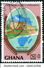 GHANA - CIRCA 1989: A stamp printed in Ghana, dedicated to the 25th Anniversary Organization of African Unity, depicted OAU building, Addis Ababa, circa 1989