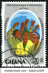 GHANA - CIRCA 1989: A stamp printed in Ghana, dedicated to the 25th Anniversary Organization of African Unity, depicted solidarity, circa 1989