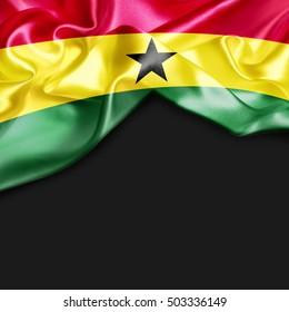 Ghana Country Flag on black background
