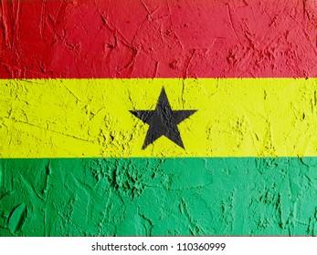 The Ghana flag painted on wall