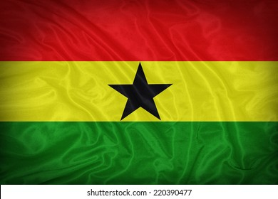Ghana flag pattern on the fabric texture ,vintage style