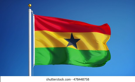 Ghana flag waving against clean blue sky, close up, isolated with clipping path mask alpha channel transparency
