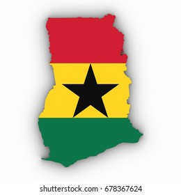 Ghana Map Outline with Ghanaian Flag on White with Shadows 3D Illustration