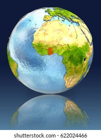 Ghana on globe with reflection. Illustration with detailed planet surface. Elements of this image furnished by NASA.