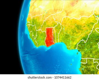 Ghana as seen from Earth's orbit on planet Earth highlighted in red with visible borders. 3D illustration. Elements of this image furnished by NASA.