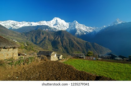 Ghandrung Village with Annapurna Massif in the background, Pokhara, Nepal
