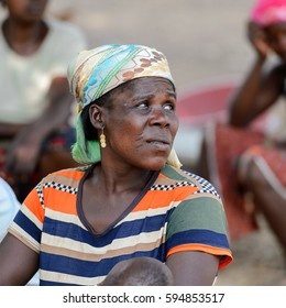 GHANI, GHANA - JAN 14, 2015: Unidentified Ghanaian woman in a headscarf. Local people call her a witch.