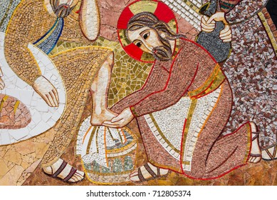 GHARB, GOZO, MALTA - AUGUST 22, 2017: The mosaic of Ta Pinu is representing the 20 stations of the Cross and is intended to give the sanctuary a theological, spiritual and religious meaning