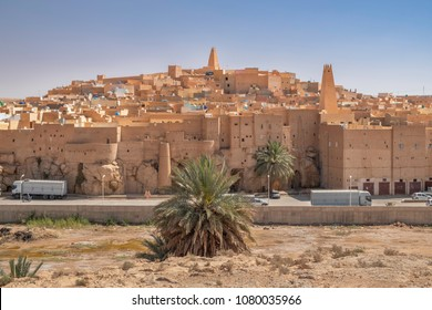 GHARDAIA, ALGERIA - APRIL 19, 2018: Ksar Bounoura, one of the five cities making up what is referred to as the M'Zab Pentapolis, Algeria