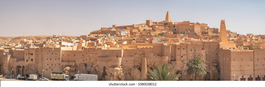 GHARDAIA, ALGERIA - APRIL 19, 2018: Panoramic view of Ksar Bounoura, one of the five cities making up what is referred to as the M'Zab Pentapolis, Algeria
