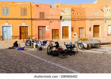 GHARDAIA, ALGERIA - MARCH 6, 2018: Houses in Ghardaia (Tagherdayt), Algeria, located along Wadi Mzab, UNESCO world heriatage site
