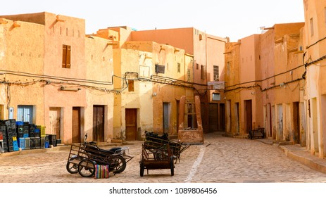 GHARDAIA, ALGERIA - MARCH 6, 2018: Houses in Ghardaia (Tagherdayt), Algeria, located along Wadi Mzab, UNESCO world heriatage site