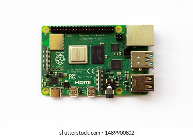 GHAZIABAD, INDIA - AUGUST 28, 2019: Raspberry Pi 4 Model B single board computer, developed by the Raspberry Pi Foundation in the UK. Raspberry Pi 4 has been released in June 2019.