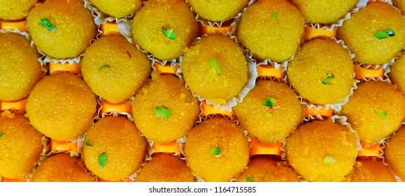 Ghaziabad, Uttar Pradesh/ India- August 25, 2018: Motichoor ke laddo, an Indian sweet, cooked with gram flour .
