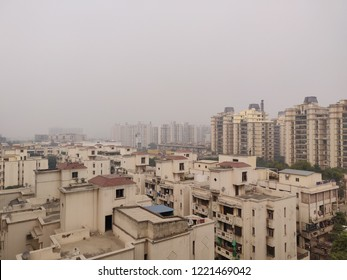 Ghaziabad, Uttar Pradesh/India- November 5, 2018: The smog around Delhi and National Capital Region in the winter clearly visible around high rises.