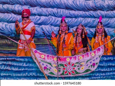 Ghaziabad, Uttar Pradesh/India - Oct 219 : Characters playing ramayana character during their performance in ramlila
