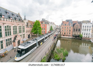 Ghent, APR 28: Aerial view of the beautiful Ghent cityscape with public transportation on APR 28, 2018 at Ghent, Belgium