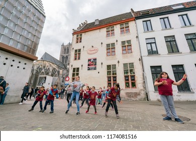 Ghent, APR 28: Childern dancing in the Japanese cluture event at the Ghent Market Hall on APR 28, 2018 at Ghent, Belgium