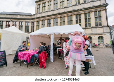 Ghent, APR 28: Japanese cluture event at the Ghent Market Hall on APR 28, 2018 at Ghent, Belgium
