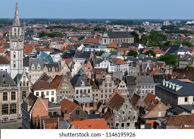 Ghent, Belgium. 06.03.18. View over the rooftops of the old buildings in Ghent city center. Ghent in Belgium.