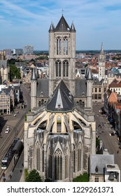Ghent. Belgium. 06.03.18. View from the top of the Belfrey towards St Nicholas Church and over the rooftops of the old buildings in Ghent city center. Ghent in Belgium.